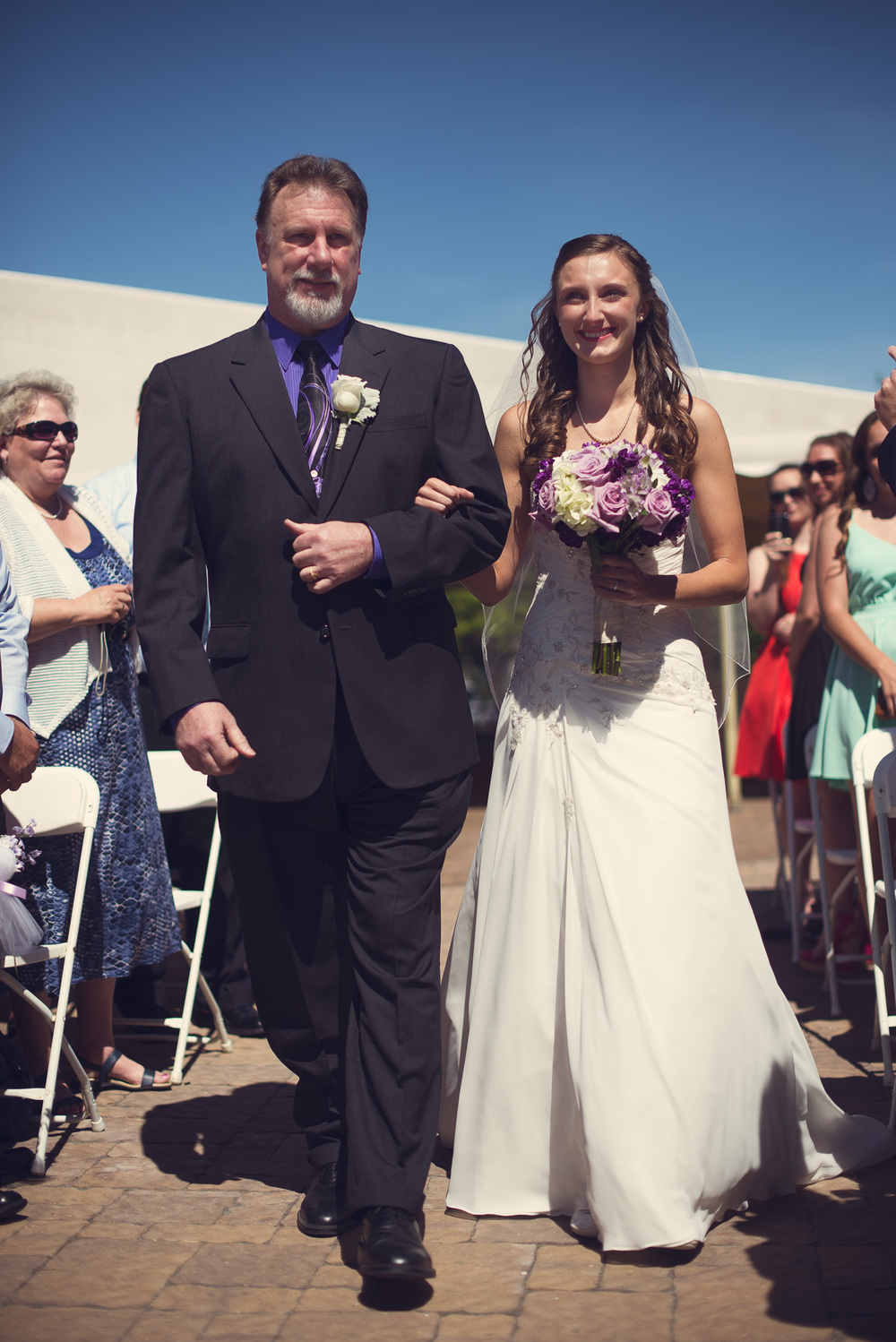 father daughter bride aisle smiling