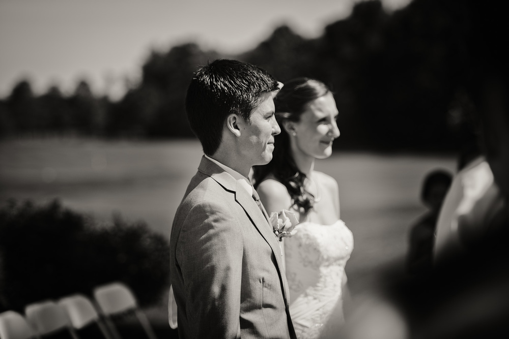 groom bride sunshine daytime wedding ceremony bw portrait THPHOTO