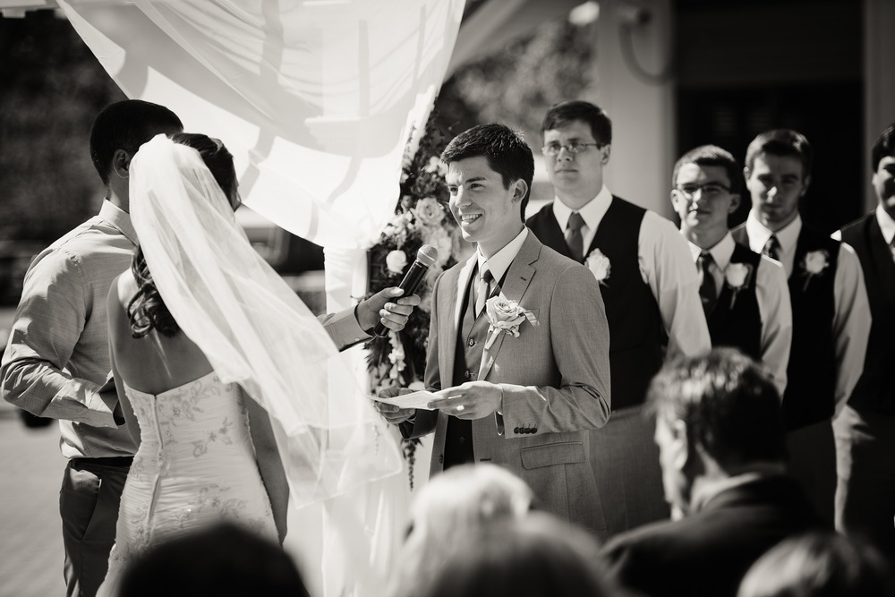groom bride sunshine vows daytime wedding ceremony bw portrait THPHOTO