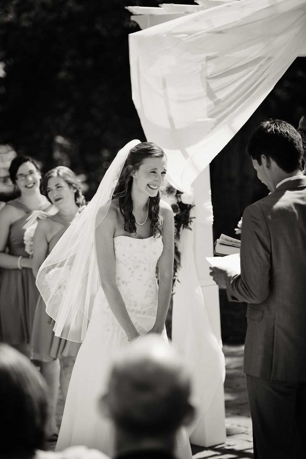 groom bride sunshine daytime wedding ceremony vows laughter bw portrait THPHOTO
