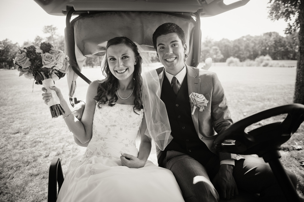 Blue Heron Pines Golf Club sunshine daytime wedding bride groom smiling husband wife love portrait THPHOTO golfcart