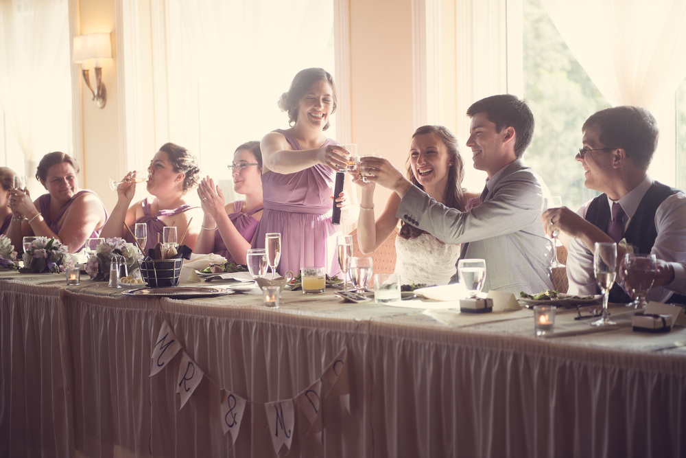 reception wedding bride groom toast cheers tequila maid of honor