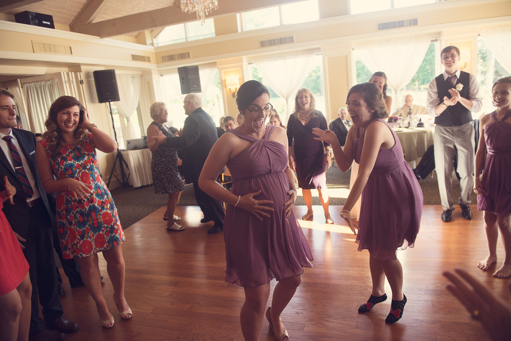 wedding reception dance baby bridesmaid