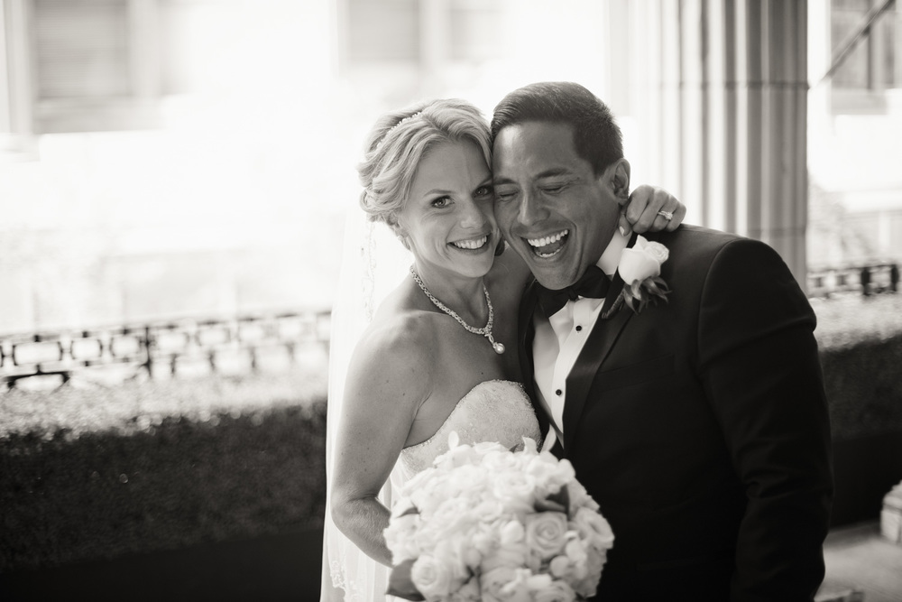 Bride and Groom laughing bw Ballroom at the Ben Philadelphia PA THPHOTO