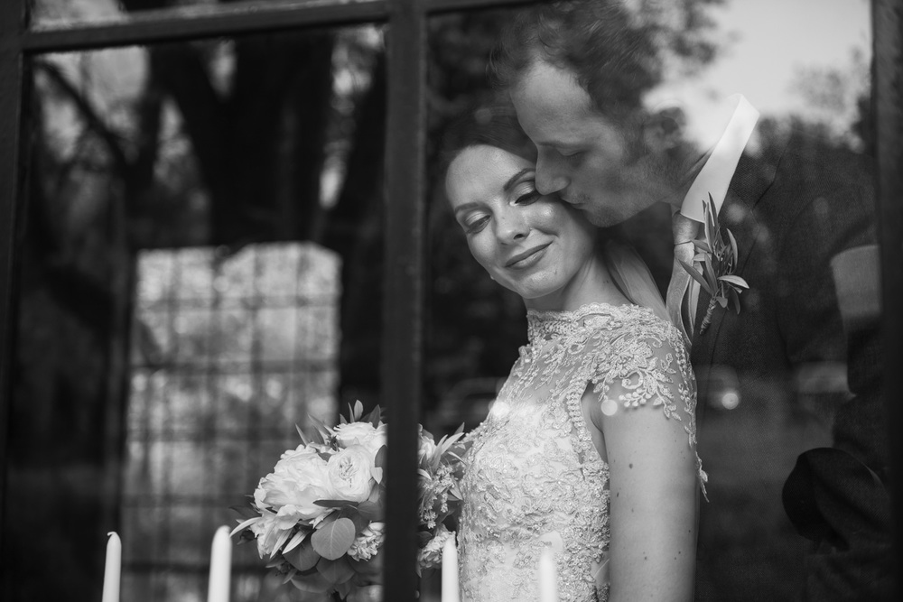 Groom kiss Bride through window Holly Hedge Estate New Hope PA THPHOTO