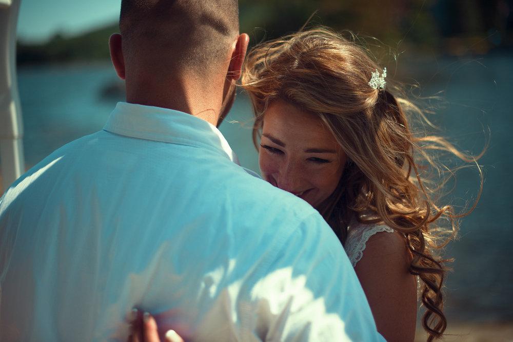 Wedding couple laughter Cranberry Lake Andover NJ THPHOTO