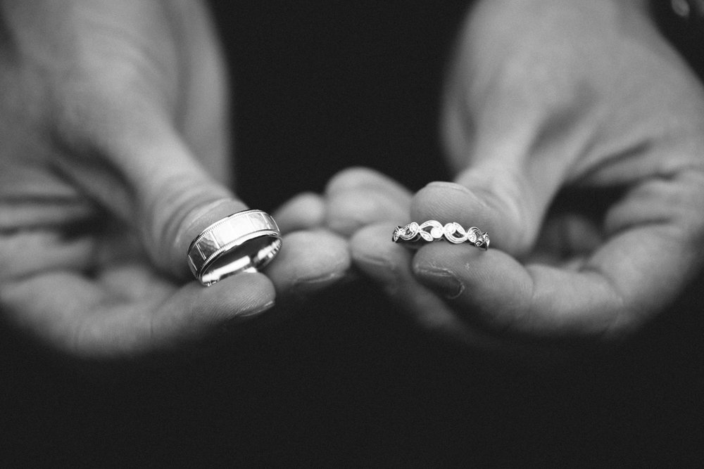 hands rings wedding bands details bw