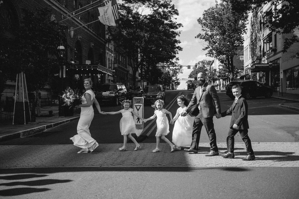 bride groom family crosswalk Beatles daughters son wedding portrait Bethlehem Lehigh Valley THPHOTO