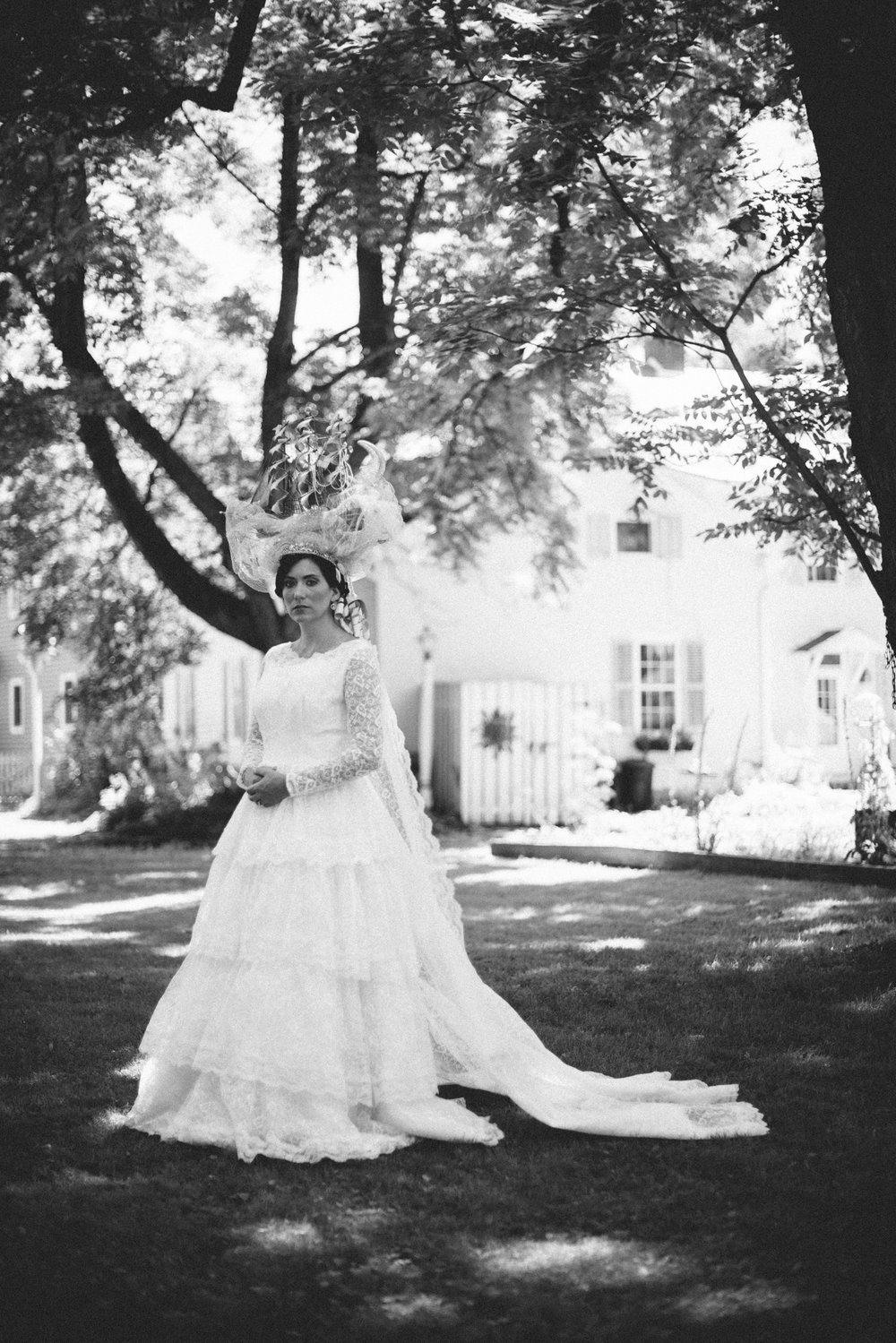 THPHOTO bride portrait vintage gown wedding dress sailbot headpiece beauty crown ferns Fawn Monique Make-Up Marina Christine Silvery Moon Guest House bw