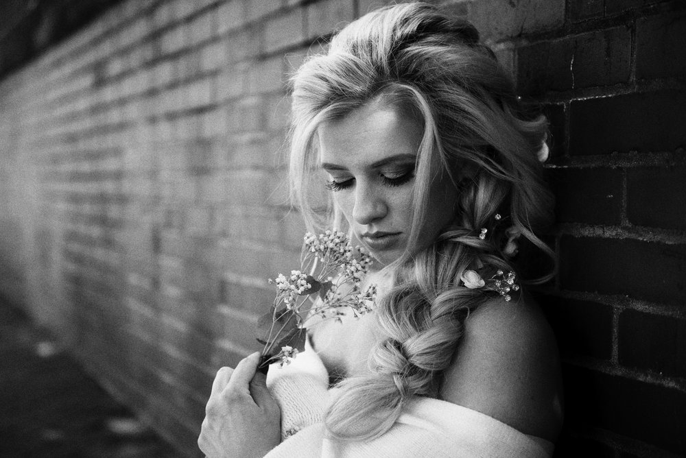Blonde Bride bw intimate Alisha Nycole Makeup in Bethlehem PA Lehigh Valley THPHOTO