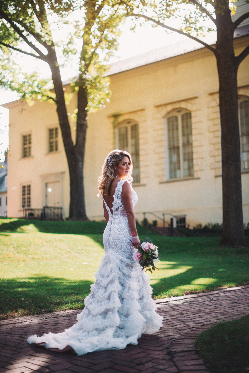 Blonde Bride looking back Alisha Nycole Makeup in Bethlehem PA Lehigh Valley THPHOTO