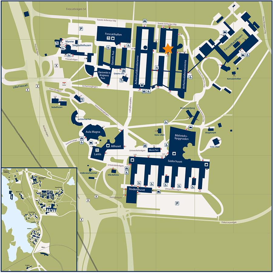 På kartan är ingången till möteslokalen Vivi Täckholmsalen utmärkt.