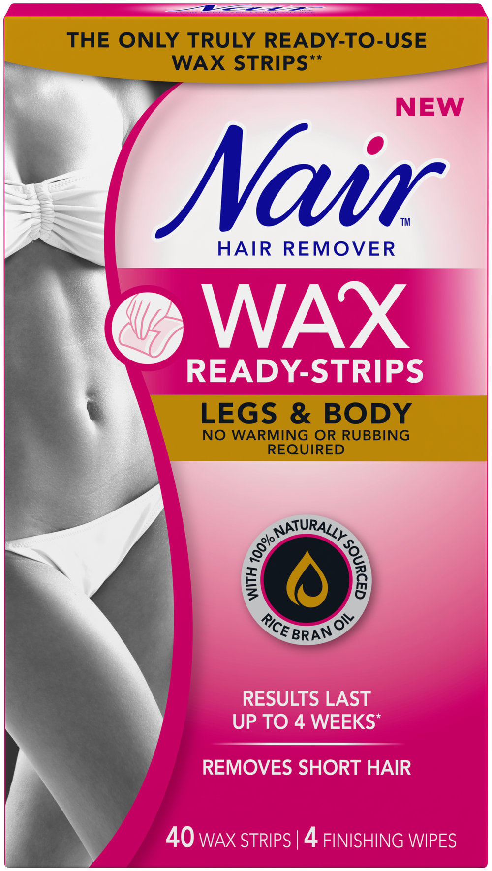 Nair Wax-Ready Strips for Legs & Body with 100% Naturally Sourced Rice Bran Oil