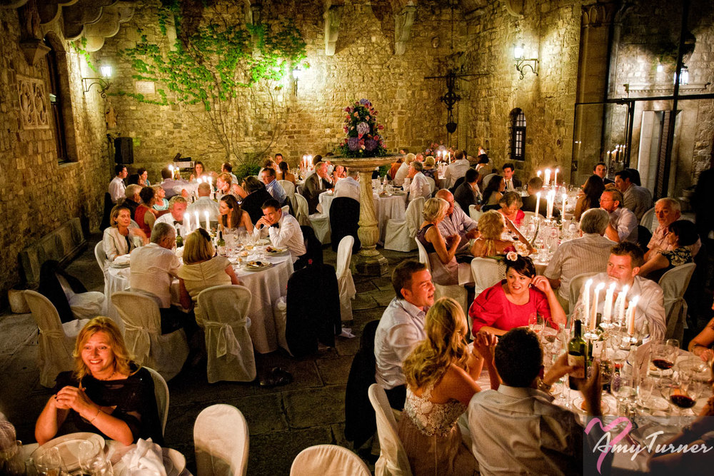wedding meal in a courtyard
