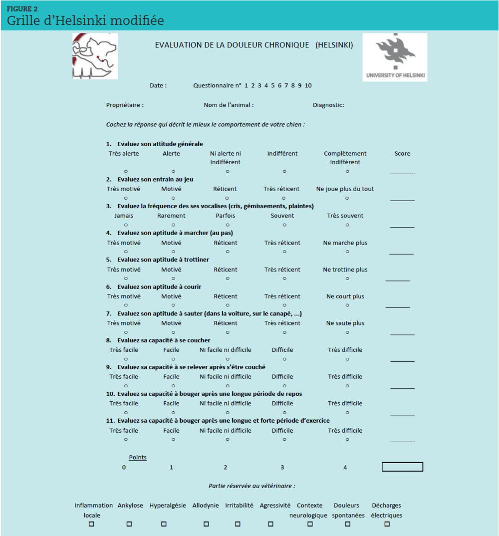 Les onze items de la grille d'Helsinki interrogent les composantes comportementale (l'état général, les vocalises, l'aptitude au jeu) et fonctionnelle (l'aptitude à la marche, au trot, à la course, au saut, à se coucher, à se relever, à la mobilité après un long repos et à la récupération après un exercice intense). Deux items comportementaux (irritabilité et agressivité) et sept items portant sur la présence d'une inflammation, d'une ankylose, d'une hypersensibilisation périphérique ou centrale, et de situations évocatrices de douleurs neuropathiques ont été ajoutés.Poitte d'après Anna K. Hielm-Bjöorkman DVM, Faculté de Médecine Vétérinaire Université d'Helsinki.