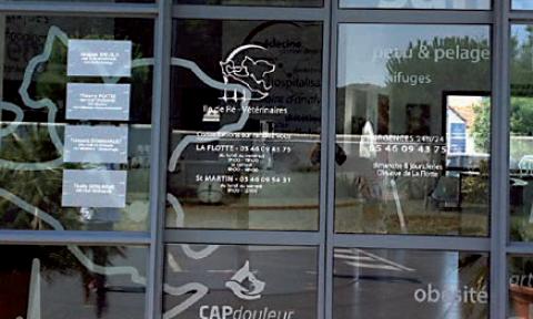 1.Devanture de clinique. Sur les baies vitrées de la clinique est dessinée une carte de l'île de Ré montrant les deux lieux d'installation,surmontés par des silhouettes de chien et de chat. Le logo Cap Douleur®apparaît en position centrale et suscite l'intérêt des clients.