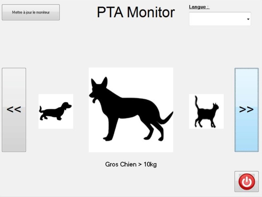 La page de démarrage affiche 3 espèces : le chat, le chien et le cheval. Cliquer   sur l'image de l'espèce souhaitée