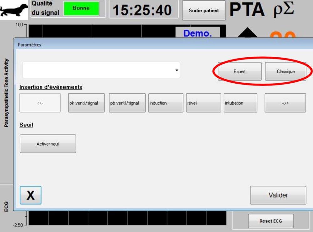 Régler sur le mode Expert qui apporte le   motif respiratoire et une fonction supplémentaire   : l'indice   « Energie » Pour activer le mode « Expert », une fois rentré dans les paramètres de réglages, il faut appuyer sur le bouton « Expert   » puis sur le bouton «   Valider   »   pour revenir à l'écran principal.
