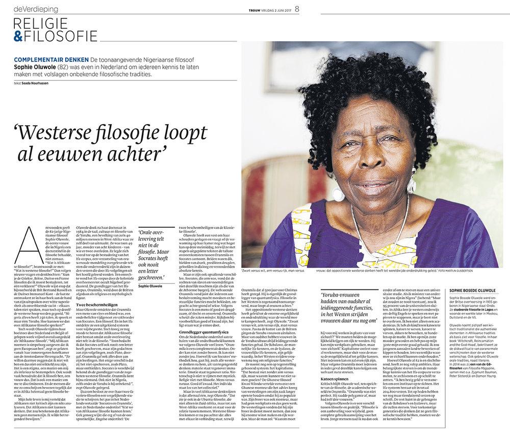 Sophie Oluwole - Trouw