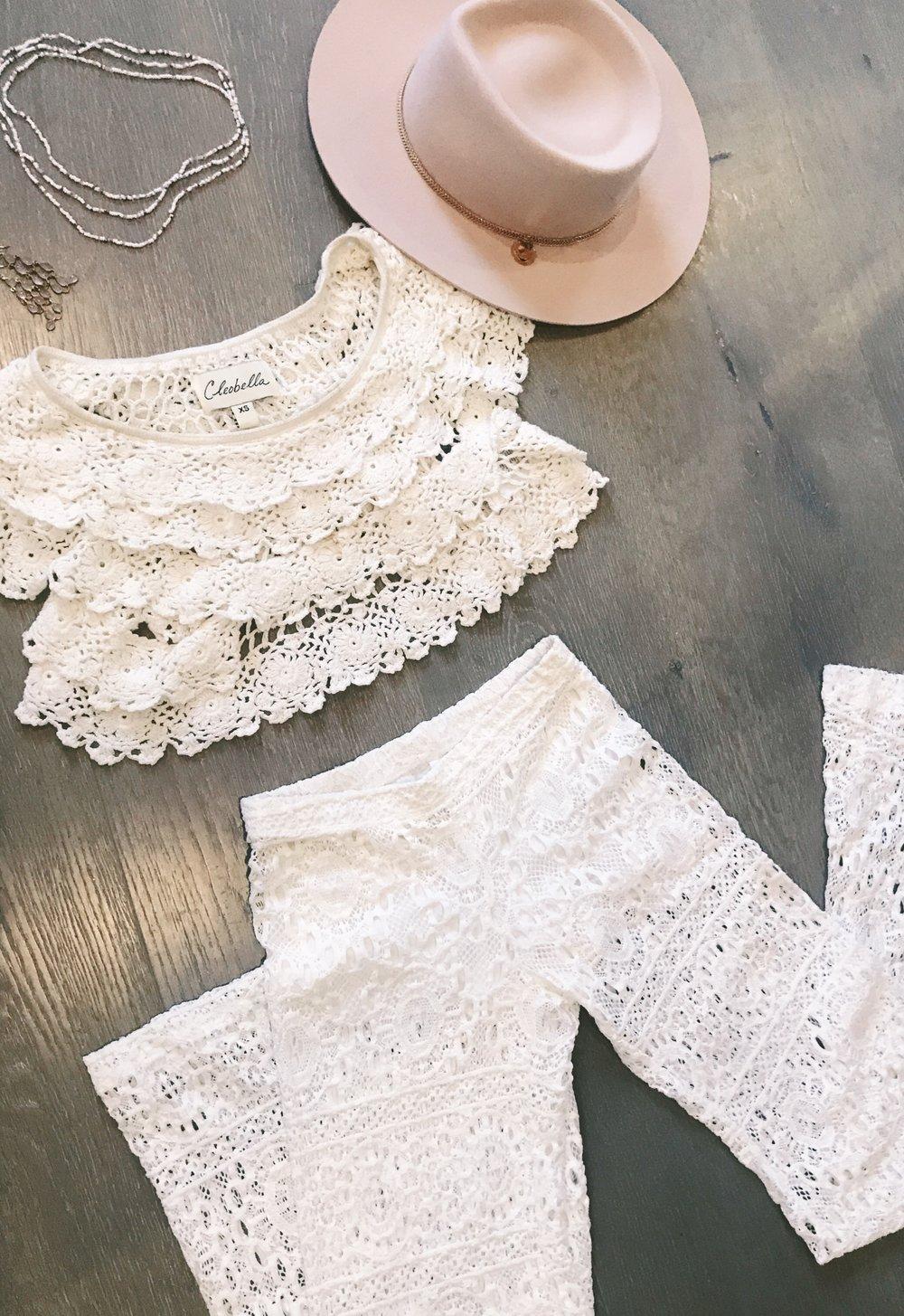 Nightcap lace pants with Cleobella crochet crop top!
