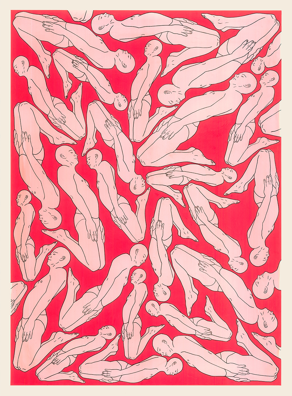Sleepers Screensaver, 2015  Acrylic paint, pen on paper  76 x 56 cm