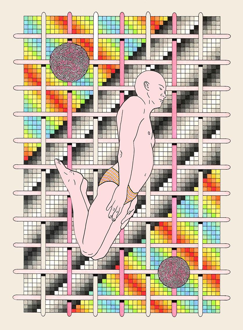 DMT Machine Elf #1, 2015 Pen, fibre tipped markers and gouache on paper  28.2 x 38.2cm