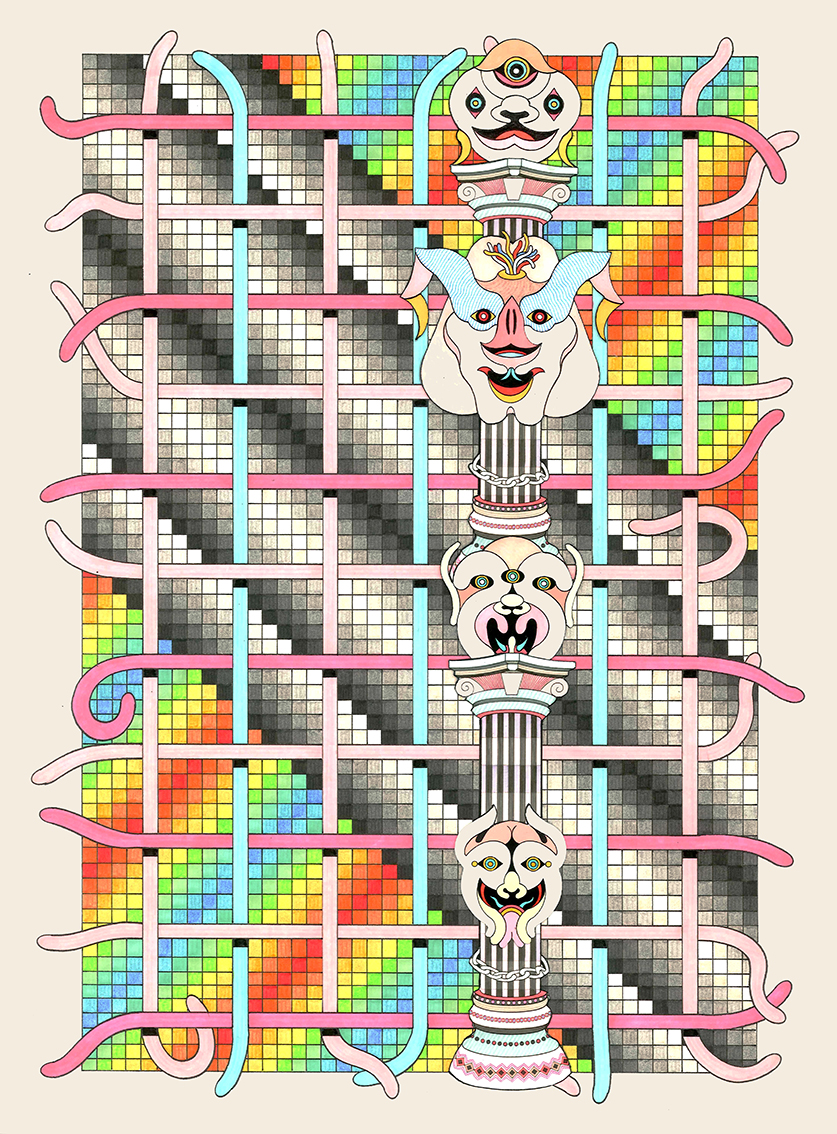 DMT Machine Elf #2, 2015 Pen, fibre tipped markers and gouache on paper  8.2 x 38.2cm