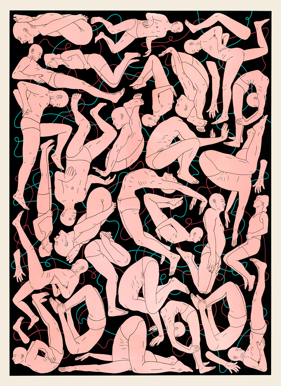 Flesh Screensaver, 2015  Acrylic paint, pen on paper  76 x 56 cm