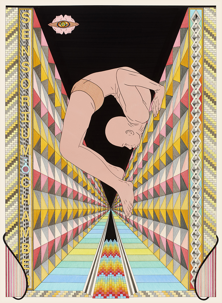 Sensorium Chamber, 2015 Pen, fibre tipped markers and gouache on paper 76 x 56 cm