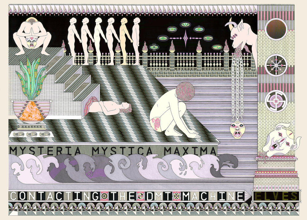 Mysteria Mystica Maxima, 2014  Pen, fibre tipped markers and gouache on paper  73.5 x 101 cm