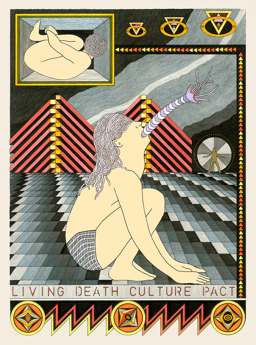 Living Death Culture Pact, 2014  Pen, fibre tipped markers and gouache on paper  8.5 x 28 cm