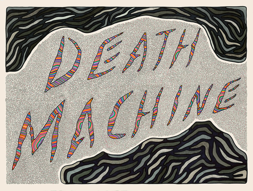Death Machine, 2012  Pen, fibre tipped markers on paper  76 x 56cm