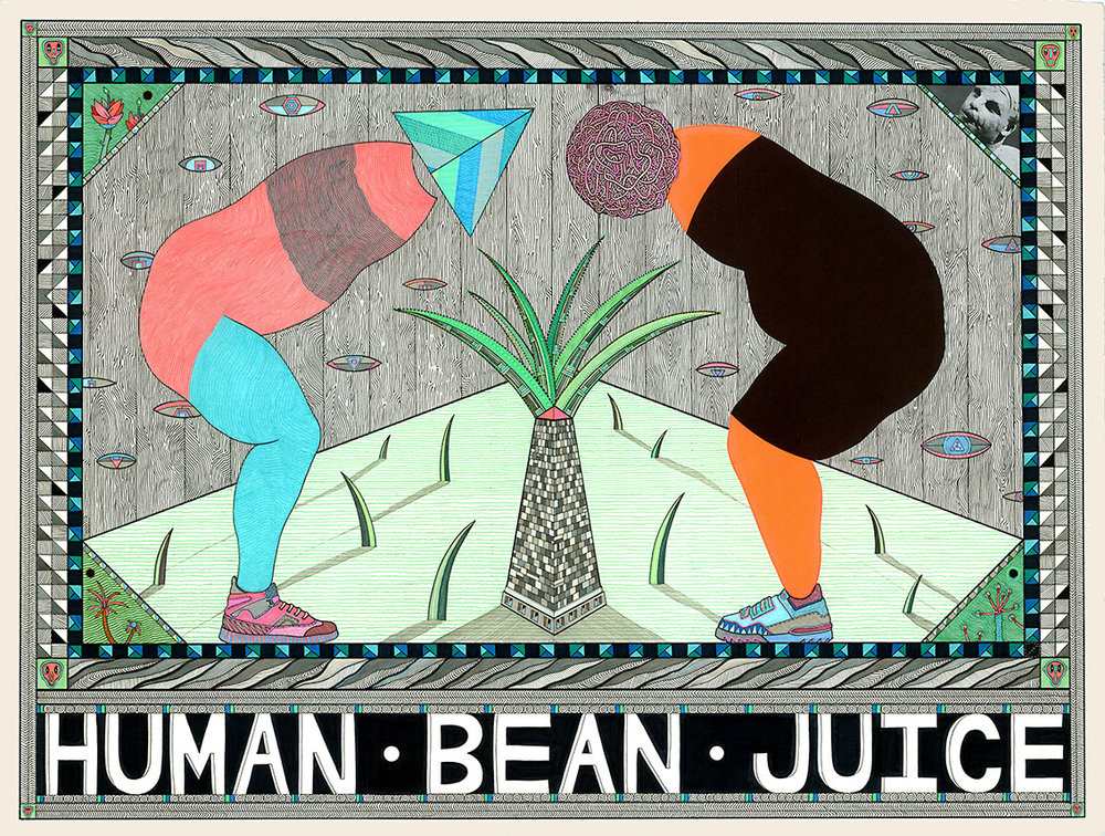 Human Bean Juice, 2012  Pen, fibre tipped markers on paper  6 x 76 cm