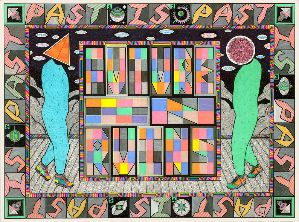 Future in Ruins, 2012  Pen, fibre tipped markers on paper  76 x 56cm