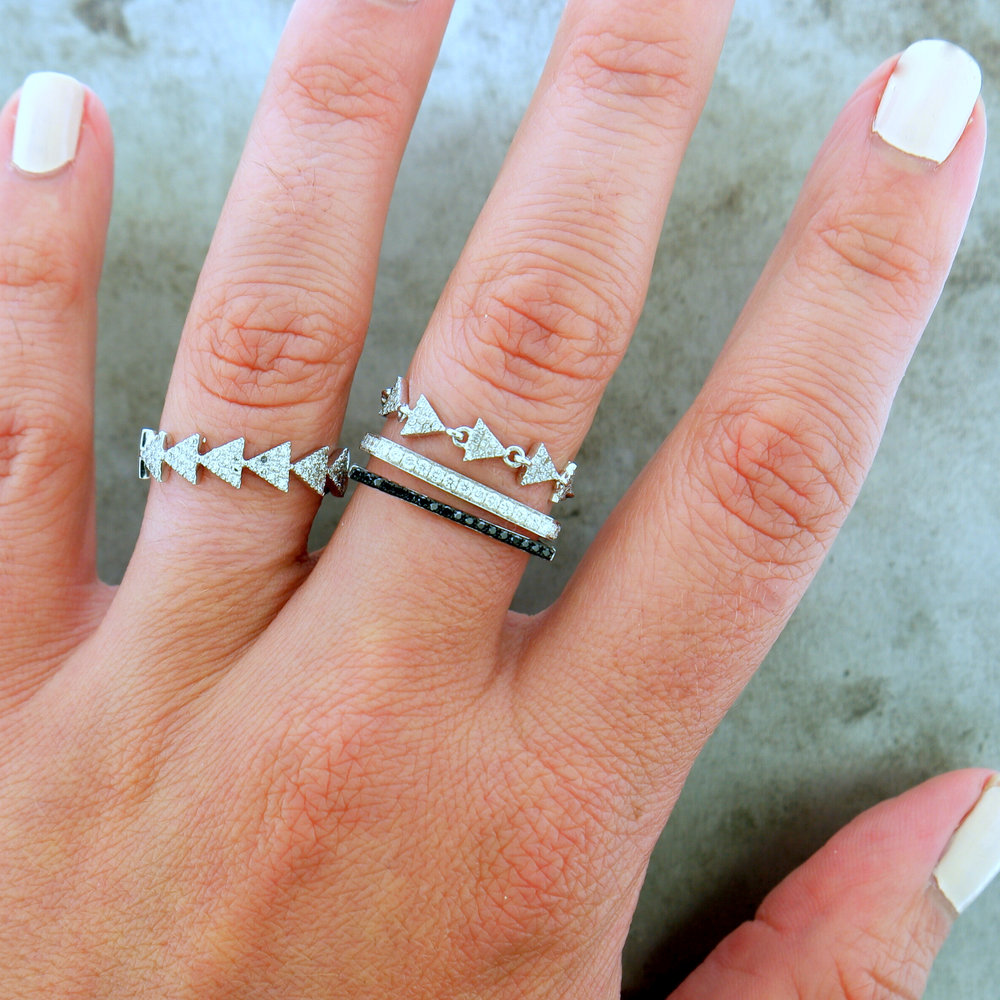 "Ring Stack featuring ""Triangle"", ""Back to Black"" & ""Wrap It Up"""