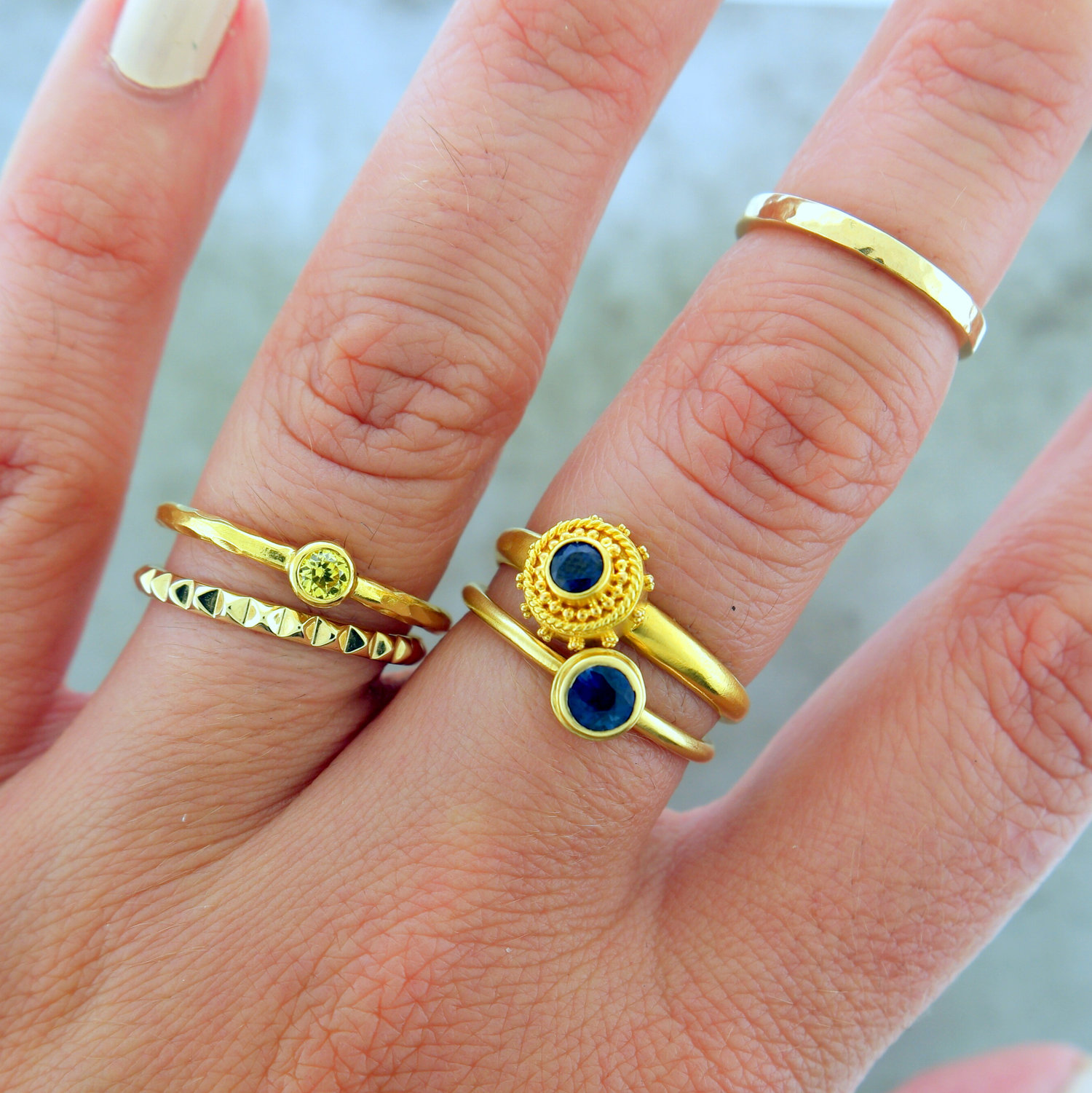 "Ring Stack featuring ""Ahoy There"", ""You're A True Blue"" ,""Hello Yellow"" & ""Pyramid"""