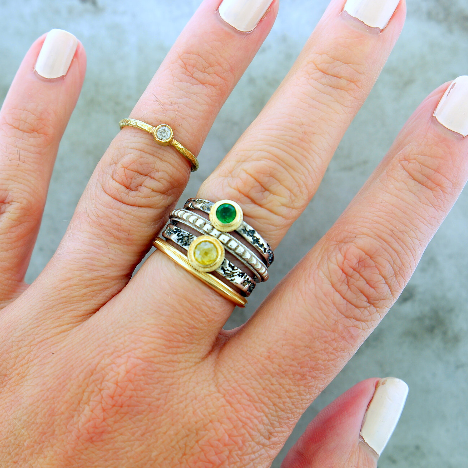 "Ring Stack ft. ""Yellow Diamond"",""Emerald"", ""Beaded or Bust"",""Run of the Milgrain"", & "" Tiny Diamond"""