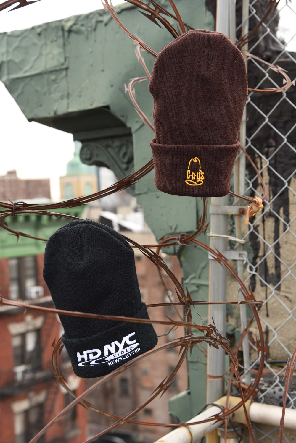 CNY BEANIE ---- HD NYC VIDEO NEWSLETTER BLACK BEANIE  +++++ CNY's BROWN BEANIE