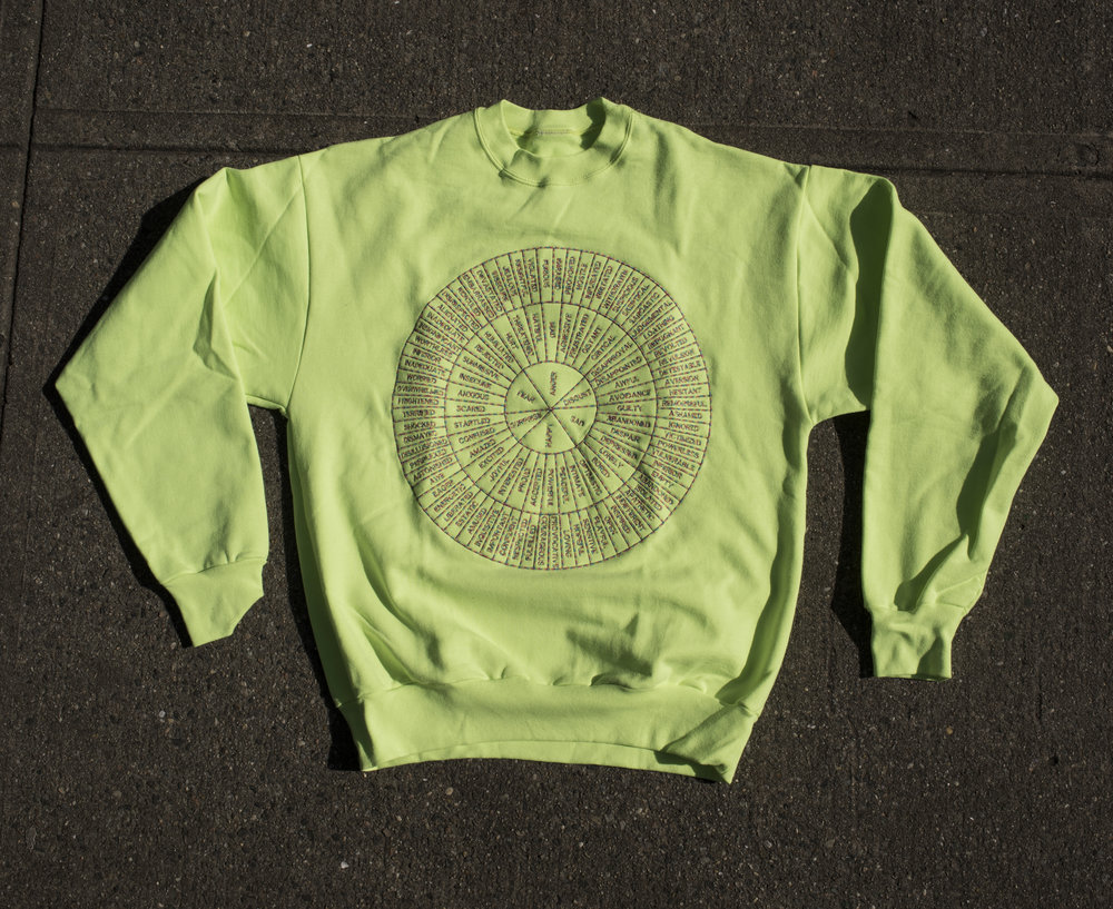 FEEL WHEEL —- E M B R O I D E R E D —- CREW NECK —-NEON GREEN