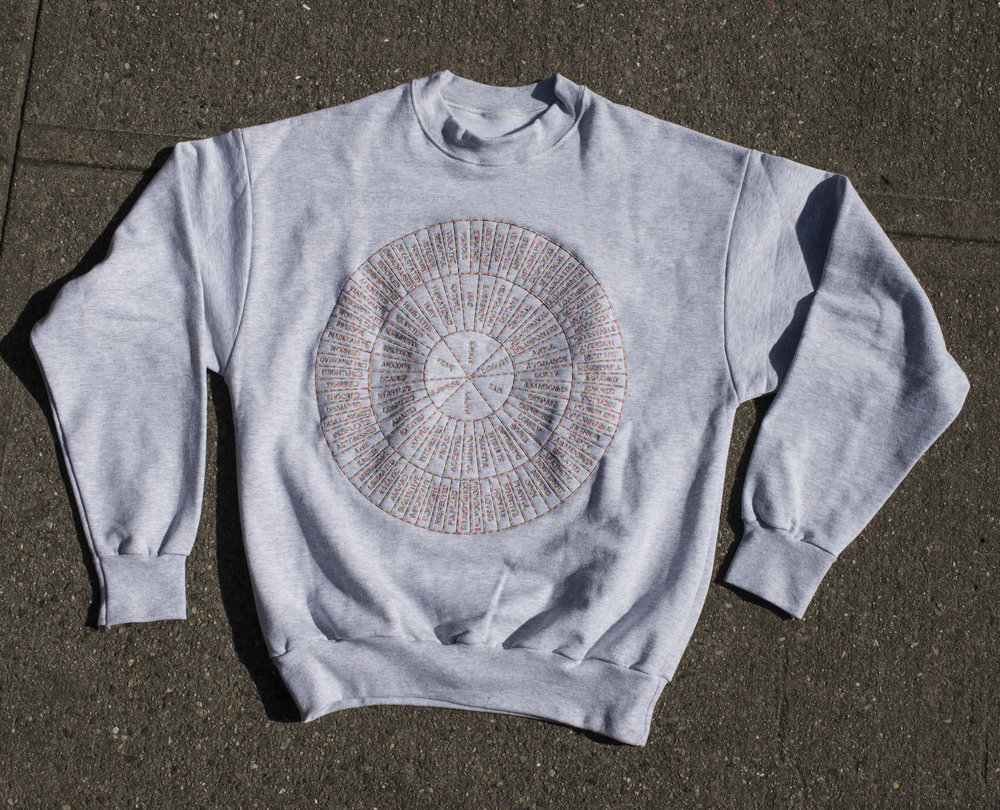 FEEL WHEEL —- E M B R O I D E R E D —- CREW NECK —-light gray