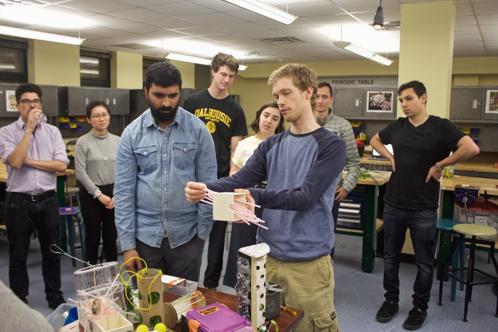 Florent Herbinger (right) presents his idea for a rabbit feeder to his instructor, Holly Pharaoh, to see if her pet rabbit would eat out of it.