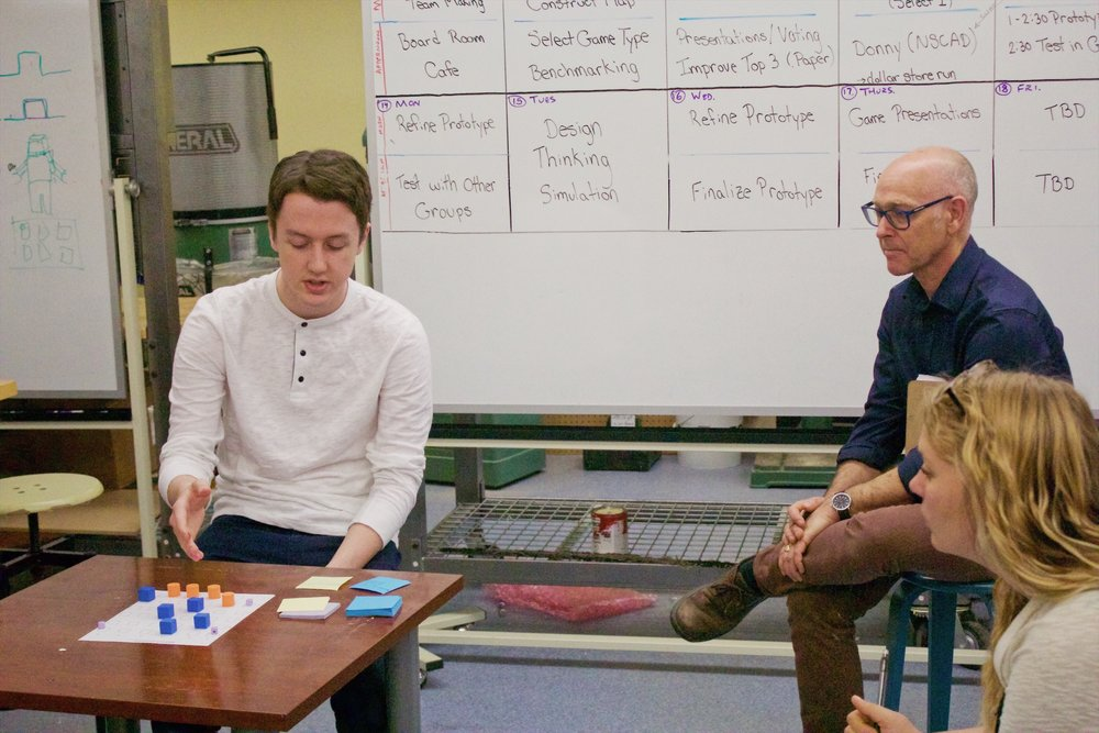 Jack Mahody, left, presents his idea for a board game to his instructors at the IDEA Sandbox boot camp.
