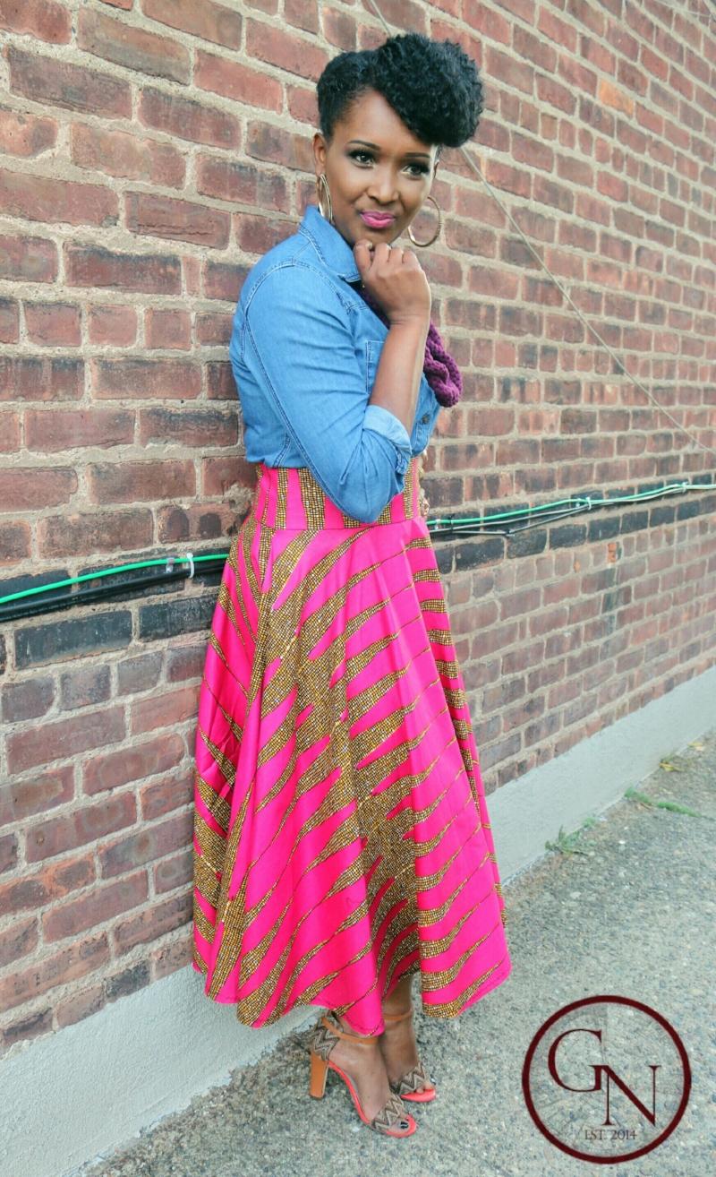 African Print Midi Skirt Complete Look