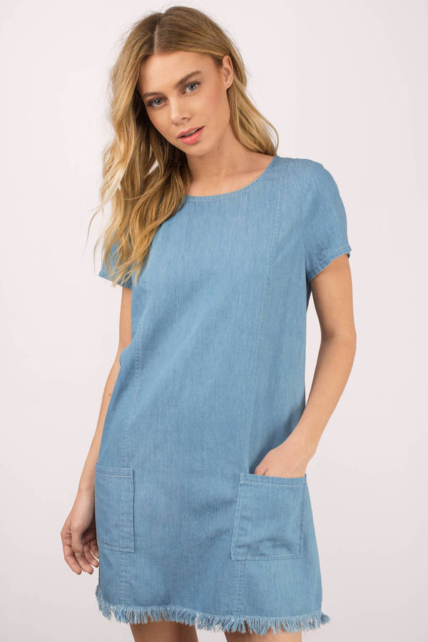 MAVERICK BLUE CHAMBRAY SHIFT DRESS