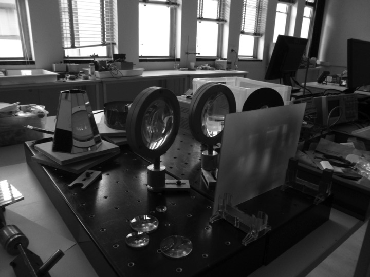 optical + rotating mirror tests in progress in the physics lab