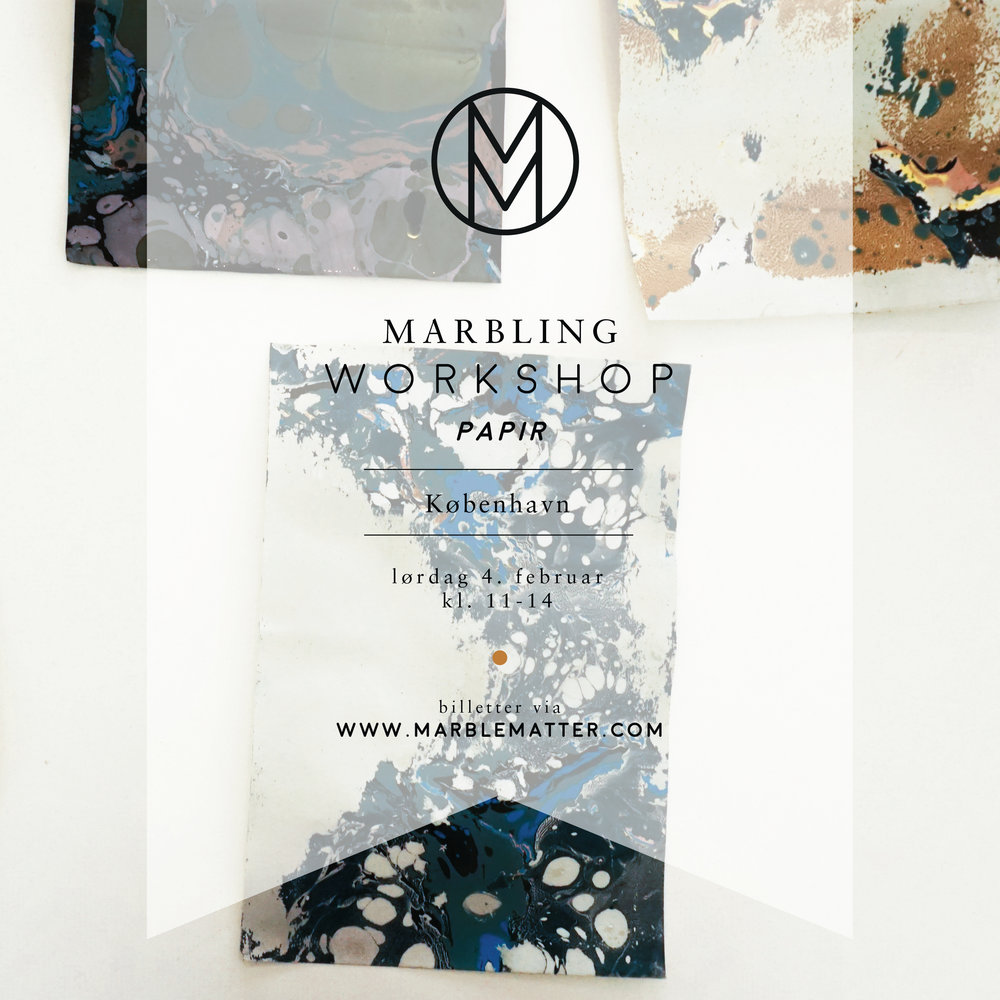 Ohoi, We are starting the new year we a fresh set of workshops, this one being the first! This time ASRosenvinge & I would like to invite you to join our paper marbling workshops on Saturday the 4th of Febuary.  Besides three hours of promised fun you will learn about the history marbling, how to do marbling at home and you will of course leave with your own marbled stationary pieces. The workshops will be held in the awesome space Fabrikken The price is 598 - DKK per participant. We will throw in tea and treats! New to marbling? Marbling is a aqueous technique where you make drops of paint float a liquid surface. Not only is it fascinating to watch and learn first-timers usually leave with really beautiful results. TICKETS: https://www.etsy.com/dk-en/shop/MarbleMatter?ref=search_shop_redirect If you have any questions, dont hesitate to contact us. Looking forward! Anne-Sophie and Julie