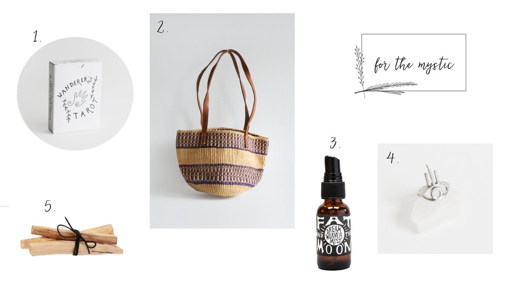 1.  Wanderer's Tarot  2.  Vintage Woven Bag  3.  Dream Weaver Mist  4.  Sage Ring  5.  Palo Santo