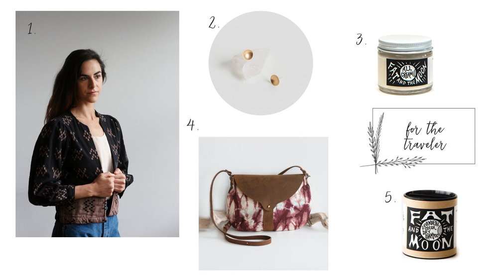 1.   Ace and Jig Highland Jacket   2.   Tiny Brass Studs   3.   A  ll Cream   4.   Taplin Purse   5.   Dry Shampoo