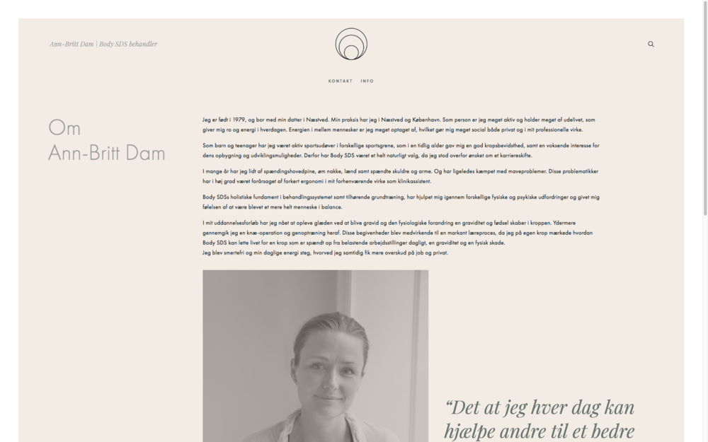 The 'About'-page: 2-column design on all other text-heavy pages on the website.    As you may come to notice, i have written a few words to Ann-Britt Dam about her bodysessions. I rarely do recommendation – unless they really truly are THAT GOOD. She deserves it! Keeps my body in check.