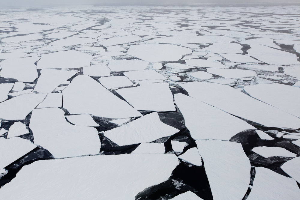 Broken floes of Arctic sea ice photographed north of Svalbard